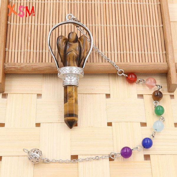xinshangmie Silver Plated Natural Tiger Eye Stone Hexagon Angel Pendant Pendulum Chakra Chain For Women Charm Jewellery 1Pcs