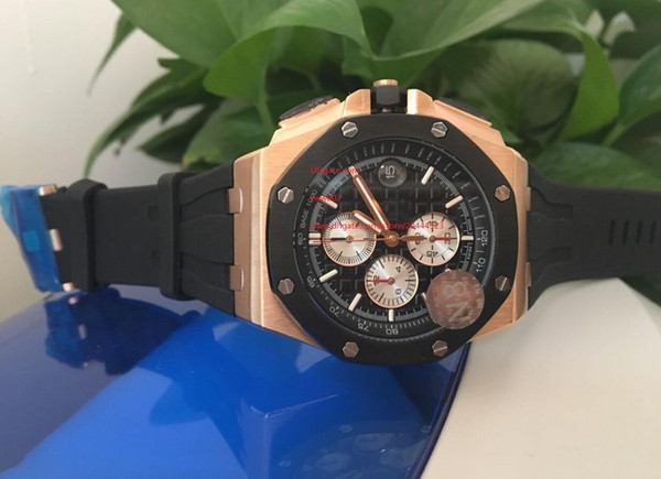 Factory Supplier AAA Luxury Top Quality Maker Rose gold Japanese quartz movement Black rubber 42mm Chronograph black dial Mens Watches