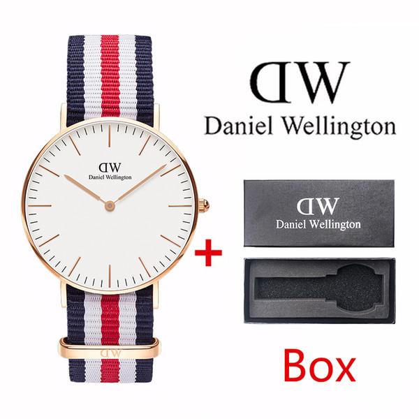Top quality ultra-thin nylon watch fashion men 40mm ladies 36mm canvas strap waterproof quartz watch casual business clock