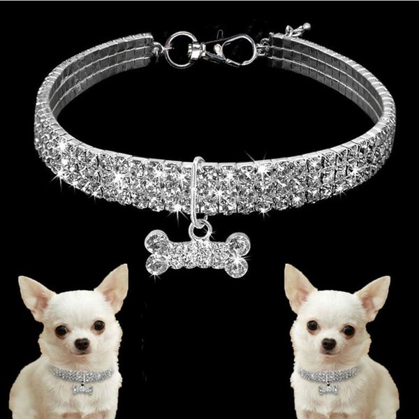 New design Pet Accessories 3 Row Rhine Rock Elastic Line Pet Necklace Dog Artificial Crystal Collar Neck Strap T7I005