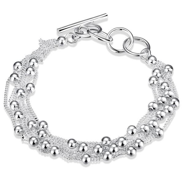 Sıcak satış 925 ayar gümüş Link Zinciri Boncuklu Strands Charm Bilezikler kadınlar ve erkekler için moda takı yapımı hediye ücretsiz shippingLKNSPCH101