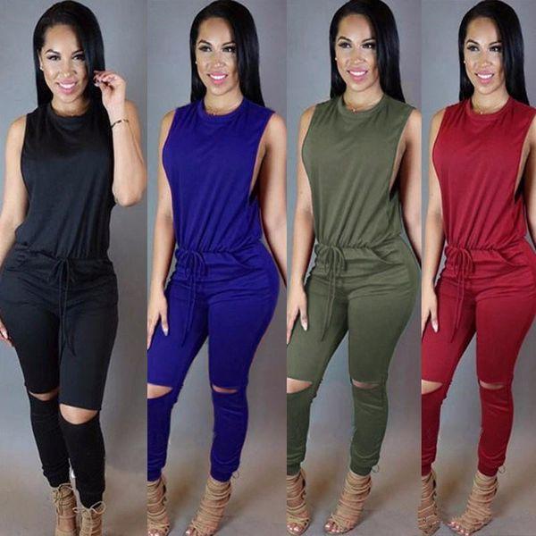 Woman Sleeveless Jumpsuit Solid Color Stripes Patchwork Zipper Bodysuit S-2XL