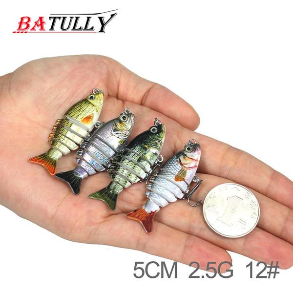 BATULLY Fishing Swimbait Glide Swimming 5cm 2.5g Hard Lure 6 Segment Fishing Lure Culter Fresh Water High Quality Fish Bait Y18100906