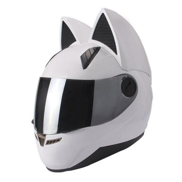 Lovely cat ears automobile race antifog full face helmet capacete moto casco motorcycle helmet full face mask white