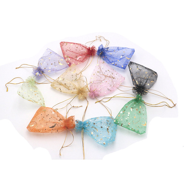9*12cm Mesh Organza Gift Bags 200pcs/lot Star Moon Printings Jewelry Accessories Transparent Pouches Wedding Party Favor Candy Bag Wholesale