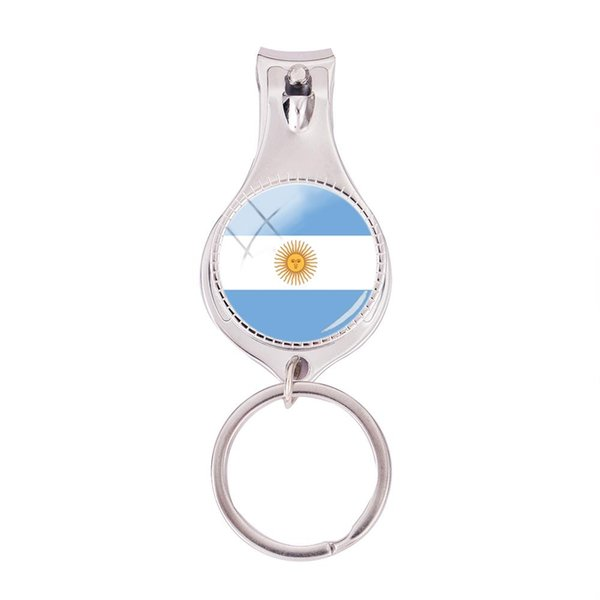 2018 Fashion Argentina Flag Multifunctional Keychain Silver Glass Dome Nail Clipper Keyring Art Photo Jewelry Nail Clippers
