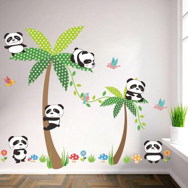 Acheter La Disposition De Lenvironnement De La Pièce De Dessin Animé De Coconut Panda Des Enfants De Dessin Animé Chaud Peut Enlever Des Autocollants