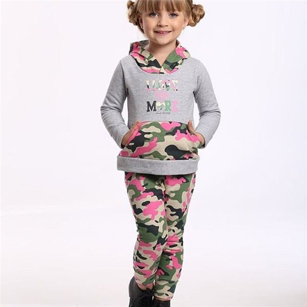2019 2018 Active Autumn Kids Baby Girl Outfits Tracksuits Long Sleeve  Patchwork Hooded Tops Elastic Waist Camo Pants Sets 1 6Y From Deve, $48.25  | ...