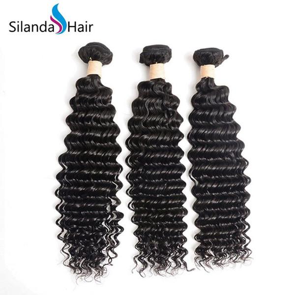 Silanda Hair Low Cost Authentic Deep Wave Human Hair Weave #1B Natural Black Brazilian Remy Hair Weaving Bundles 3pcs per pack Free Shipping