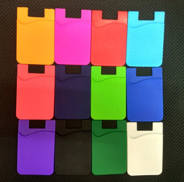 Elastic Silicone Cell Phone Wallet Case Credit ID Card Holder Pocket Stick On 3M Adhesive Black/Gray/Pink/Red/Green/Blue/Brown
