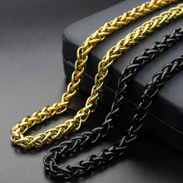 3/4/5/6mm Men Boy Hip hop Stainless Steel silver/gold/black Wheat Chain Necklace suit for DIY