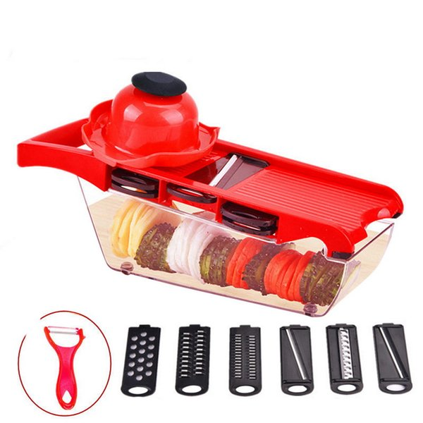 wholesale 6 Interchangeable Blades With Safe Hand Guard Peeler Vegetable Fruit Cheese Onion Slicer Cutter Chopper Kitchen Tool