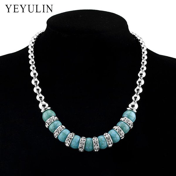 New Arrival Natural Green Stone Bead Charms Alloy Beaded Necklace Woman Statement Choker Collar Necklace Jewelry
