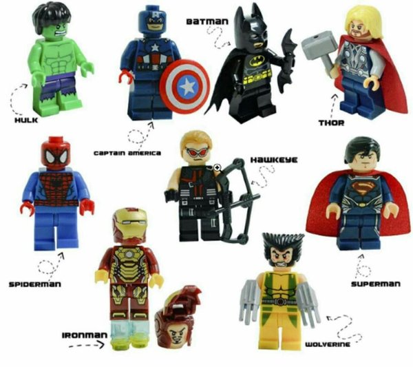 Super hero mini figures kids corner productions Batman, Spiderman, IronMan, Thor, Hulk Building Blocks Sets Kids gifts