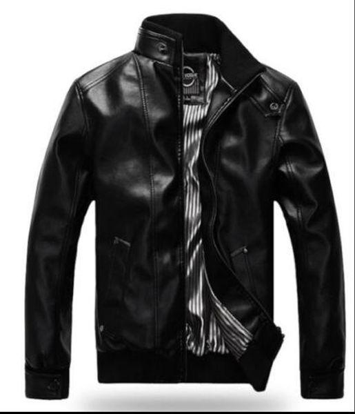 Spring new Men's Slim Autumn Winter Motorcycle Short Coat Overcoat Stylish Leather Jacket
