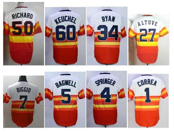 official photos 9a004 ec105 2019 Stitched Men'S 34 Nolan Ryan 5 Jeff Bagwell 27 Jose Altuve 4 Springer  1 Correa Baseball Jerseys Throwback Cool Base Player Jersey From ...