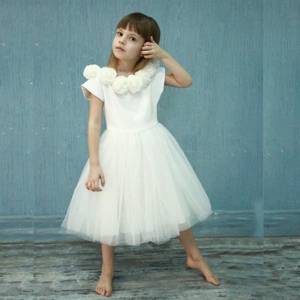 Großhandel Schneewittchen Blumenmädchen Kleid Mit Elfenbein Nude Tüll Kurzarm Kleid Boot Ausschnitt Prinzessin Hochzeitskleid Taufe Outfit Infant