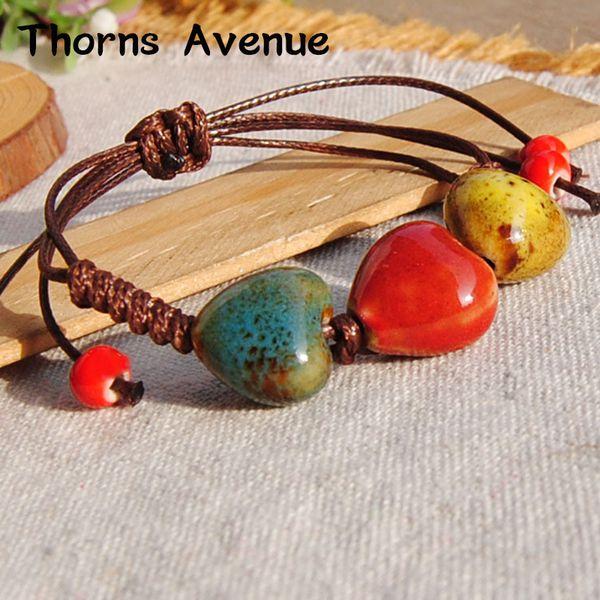 Thorns Avenue Fashion 19 Styles Ceramics Beads Vintage Bracelet Elastic rope Ethnic Rope Bohemia For Women Men Party