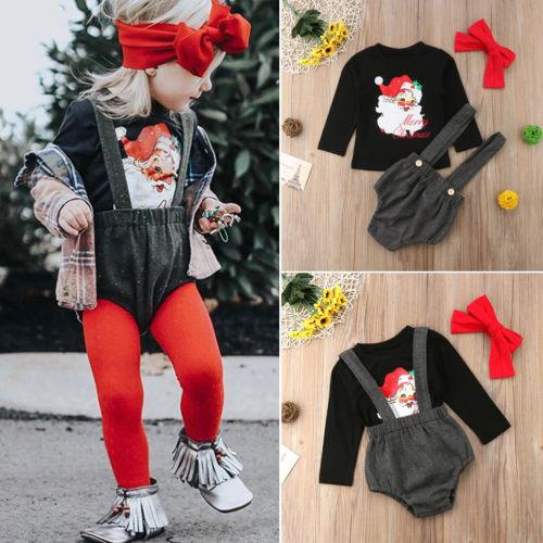 2018 New Xmas Clothes Baby Girls Outfits XMAS Tops Santa Claus+Suspender Bib Shorts Pants Children Christmas Clothes Set