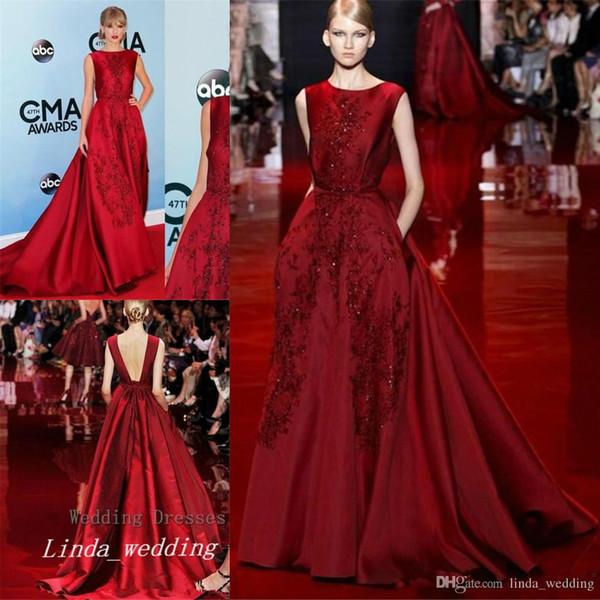 Burgund Elie Saab Evening Dress Elegant Long Backless Red Carpet Prom Party Dress Formal Event Gown Plus Size vestido de festa longo