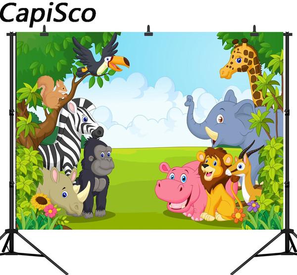 Capisco seamless jungle safari animaux sur le thème anniversaire fête bannière photo fond bébé enfants parti photographie décors