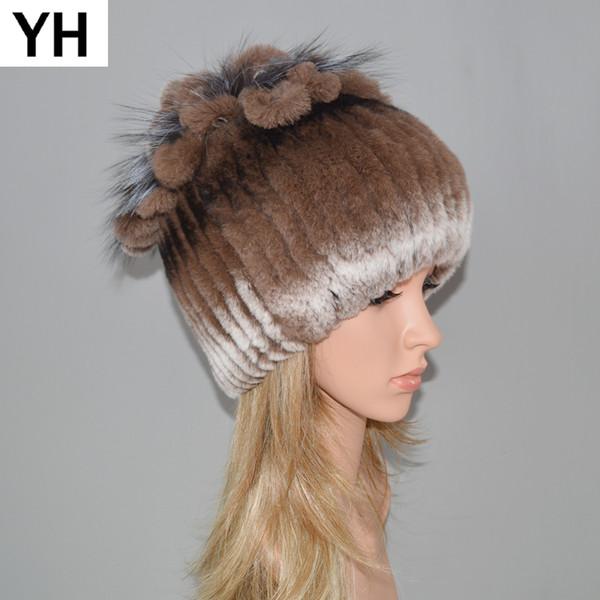 Women Knitted Genuine Rex Rabbit Fur Hat Hot Winter Rex Rabbit Fur Beanies Cap Striped Head Top Flower Fox Warm Real Cap
