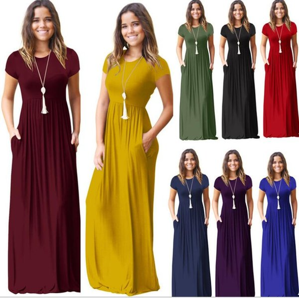top popular Women summer dress short sleeve o neck Solid Color Pocket Dress Casual Long Maxi Party Summer Beach Pocket dress LJJK895 2019