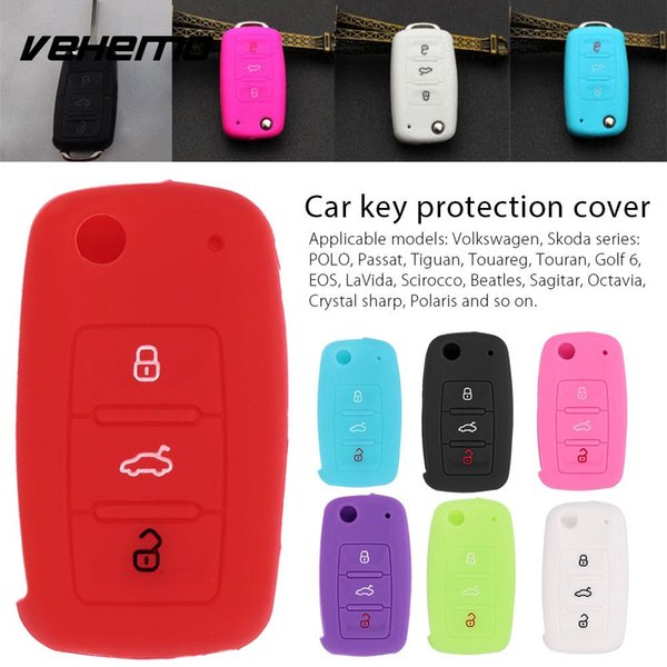 Vehemo Silicone 3Button Car Key Cover Vehicle Car Key Set Shell Durable Beautiful Flip Multicolor for POLO GOLF