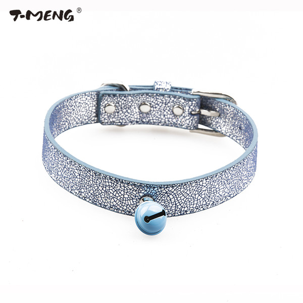 T-MENG Brand Dog Collar Bling Genuine Leather Bell Pet Collars Adjustable For Puppy Small Medium Large dogs Pet products