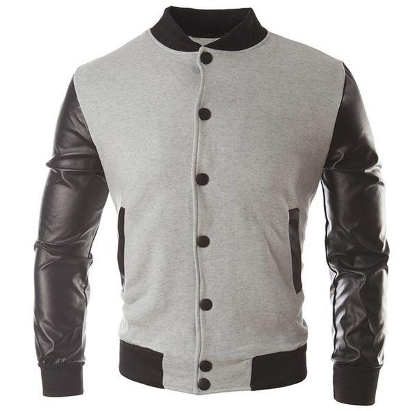 New Trend Black College Baseball Jacket Men/Boy Veste Homme Casual Pu Leather Sleeve Mens Sweatshirt Varsity Jackets For Fall