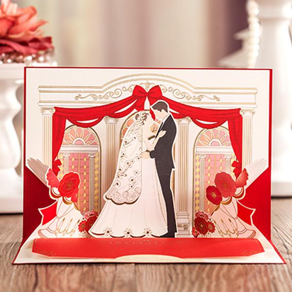 (20 Stücke / Los) 3D knallen oben Braut-und Bräutigam-Hochzeits-Einladungs-Karten-Gold, das Weinlese-rote Einladungen mit Umschlag CW6036 stempelt