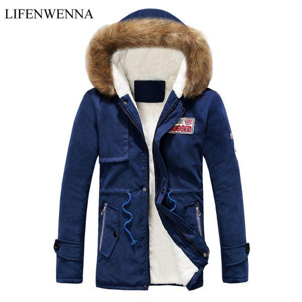 Winter Men's Parka 2018 New Fashion Slim Thicken Fur Collar Mid-Long Jacket Men Comfortable Cotton Hooded Parka Mens Coat Tops