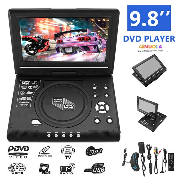 Lettore DVD portatile da 9,8 pollici Schermo rotante ricaricabile a 270 gradi Supporto per lettore multimediale digitale USB SD TV CD VCD DVCD MP4