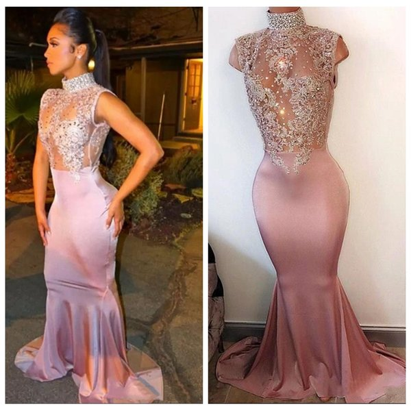 2018 High Neck Slim Mermaid Beaded Crystal Collar Prom Dresses Sleeveless Lace Appliques Cheap Formal 2K17 Party Gowns Evening Party Dress