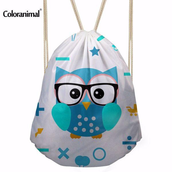 Coloranimal Cute Animal Cartoon Owl Backpack Women Girl Drawstring Bag Fabric Nylon Sackpack Bag for Fitness String Shoulder