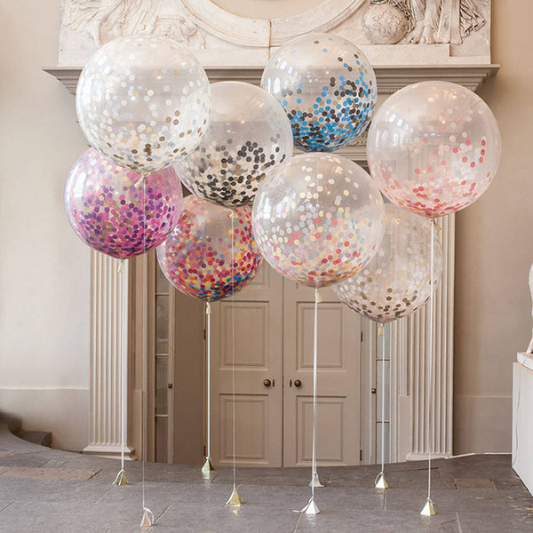 Transparente Globo de Papel Con Lentejuelas 12 Pulgadas Ronda Festival de la Fiesta de Cumpleaños de Suministros de Látex Airballoon Decoraciones de la Boda 2 4sl BW