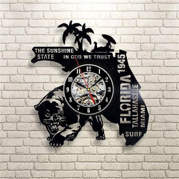 Florida Personality Vinyl Wall Clock Simple Modern Home Decor Crafts Creative Handmade Living Room Decoration Wall Art Black Quartz Clock