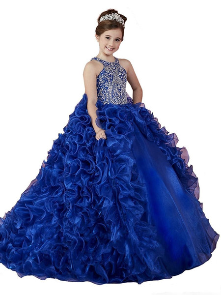 2018 Luxury Puffy Ball Gown Royal Blue Girls Pageant Dresses Jewel Beaded Crystal Ruffles Tiered Organza Kids Flower Girls Birthday Gowns