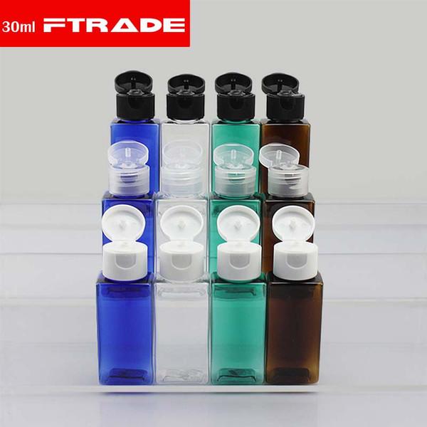 (50 pçs / lote) 30 ml shampoo frascos de viagem de plástico com tampa flip top, garrafas de reutilizáveis de viagem shampoo embalagem PET Quadrado