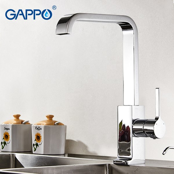 GAPPO Luxury Style Brass Solid Kitchen Faucet Square Design Single Handle Cold and Hot Water Mixer GA4004
