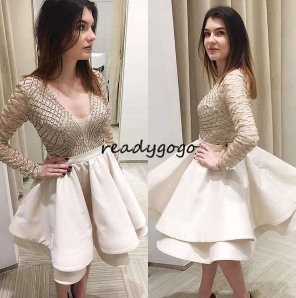 Chic Beaded Long Sleeves Homecoming Cocktail Party Dresses 2018 Ruffles Puffy Skirt Major Beaded Short Prom Occasion Evening Gown