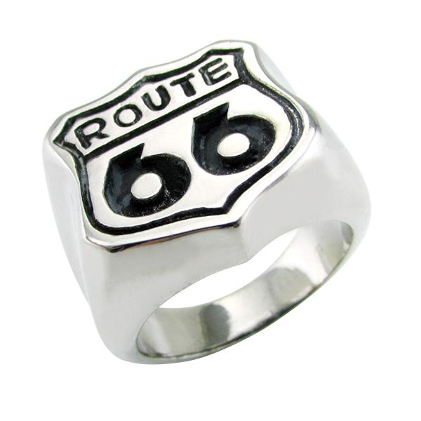 Free Shipping ! Punk Silver White and Black 316L Stainless Steel 66 Ring Rock Route 66 Men's Biker Rings Jewelry