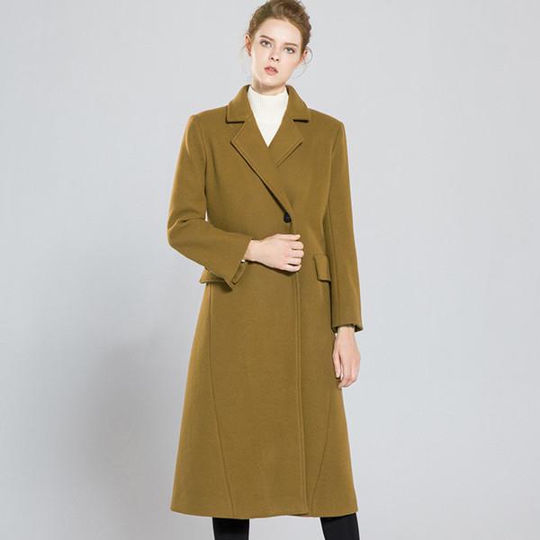 Твердые одной кнопки полная длина прямые длинные шерстяные пальто 2018 новый высокое качество офис леди женщины осень зима шерсть пальто