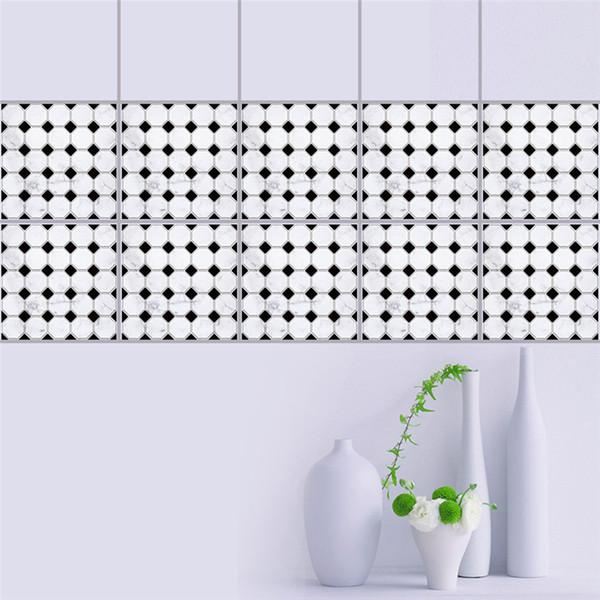 Acheter 20 * 20 Cm Noir Blanc Mosaïque Auto Adhésif Taille Ligne Sticker  Mural Salle De Bains Carrelage Stickers Muraux Décor Autocollant Mural De  ...