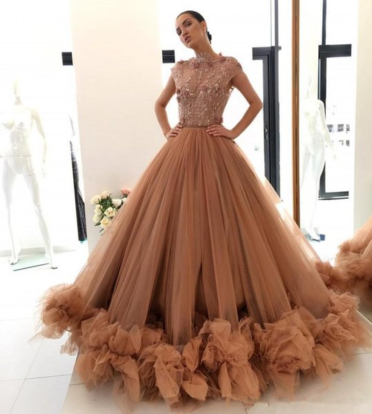 Amazing Beaded Ball Gown Prom Dresses Lace Appliques Bateau Neck Ruffles Formal Dress Custom Made Tulle Floor Length Evening Gowns
