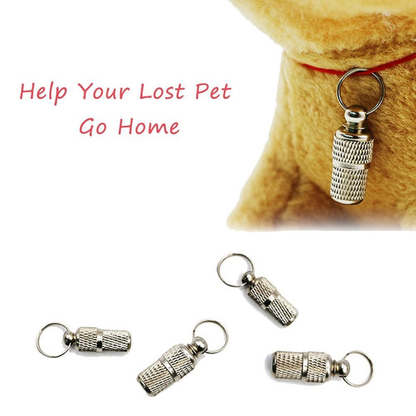 Anti-Lost Pet Dog Cat Puppy ID Address Name Label Tag Barrel Tube Collars Metal Simple Durable 500 pieces