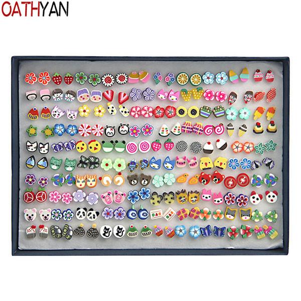 d8ca83ffd wholesale 100 Pairs/Set Handmade Plant Fruit Stud Earrings Sets Mix Girl  Kids Minimalist Jewelry