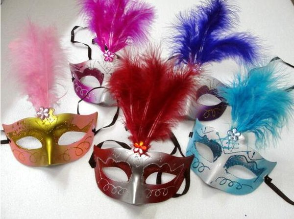 Rhinestone embellishment Feather wedding party masks masquerade mask Venetian mask women Lady Sexy masks 100pcs/lot