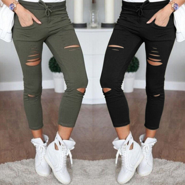 top popular New Skinny Jeans Women Denim Pants Holes Destroyed Knee Pencil Pants Casual Trousers Black White Stretch Ripped Jeans 2021