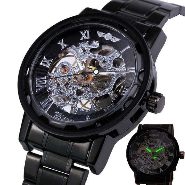2018 GANADOR Relojes mecánicos para hombre Relojes de pulsera de acero inoxidable de viento mano Relojes de pulsera esqueleto número romano Manos luminosas